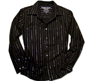 【前開シャツ】 Stripes of light shirts